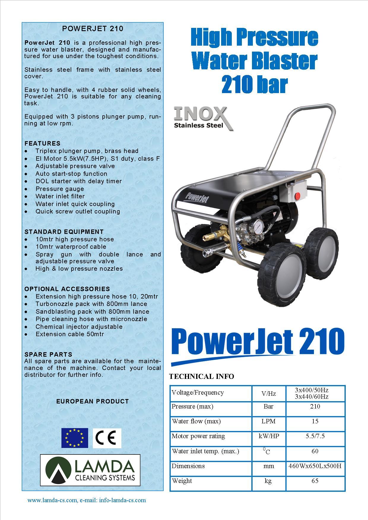 Powerjet 210e 3x440v 60hz Inox